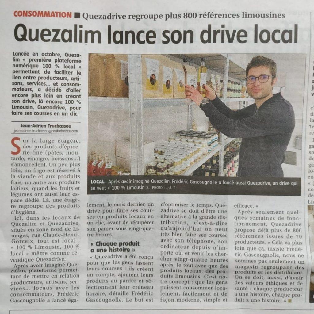 Quezalim lance son drive 100% Limousin : Quezadrive !